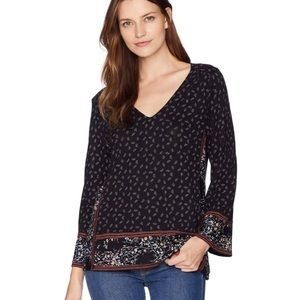 Lucky Brand Boarder print bell sleeve top
